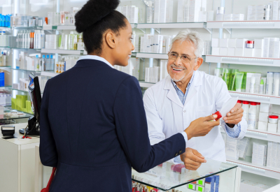 pharmacist talking to the customer