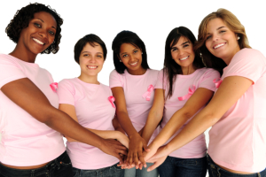Diverse women united with breast cancer awareness ribbon